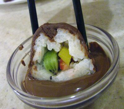 Fruit-Filled Coconut & Chocolate Dessert Sushi