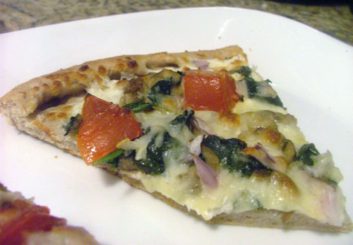 Goat Cheese Pizza with Spinach, Mushrooms, and Tomatoes