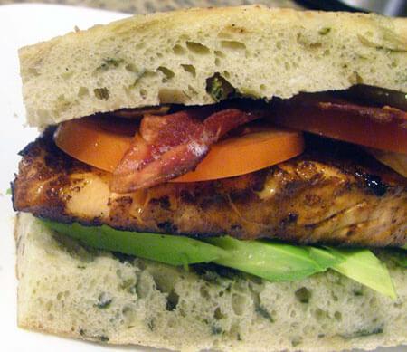 Salmon Sandwiches with Avocado, Bacon, and Tomato