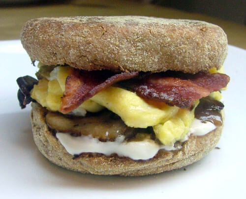 Egg, Bacon, Mushroom, and Goat Cheese Breakfast Sandwiches