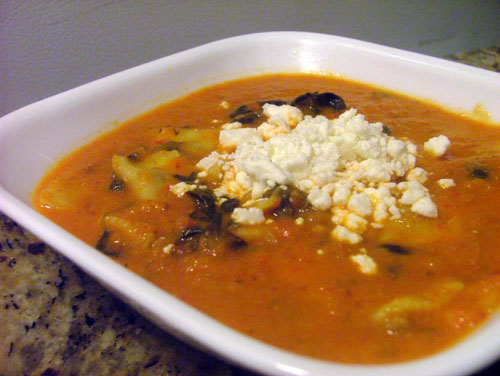 Roasted Red Pepper and Tomato Florentine Soup with Mini-Ravioli