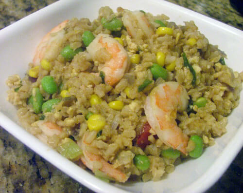 Shrimp Fried Rice with Edamame, Corn, and Red Pepper Succotash