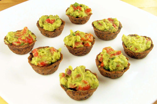 Mini Bean Black Cups Stuffed with Guacamole