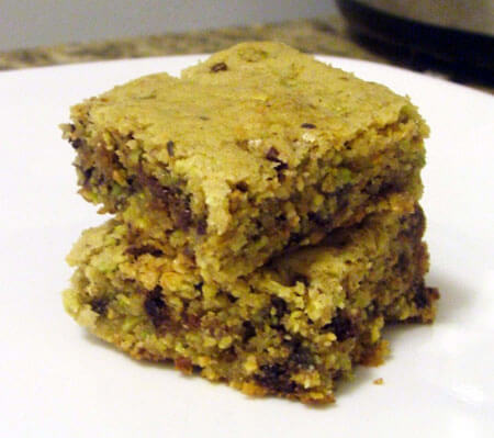 Pistachio Mint Chocolate Chip Bar Cookies