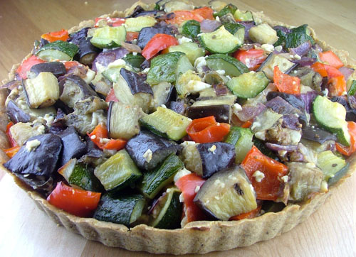 Roasted Eggplant, Zucchini, and Red Pepper Tart with Feta