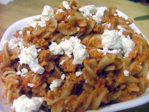 Toasted Almond and Roasted Red Pepper Pesto Pasta