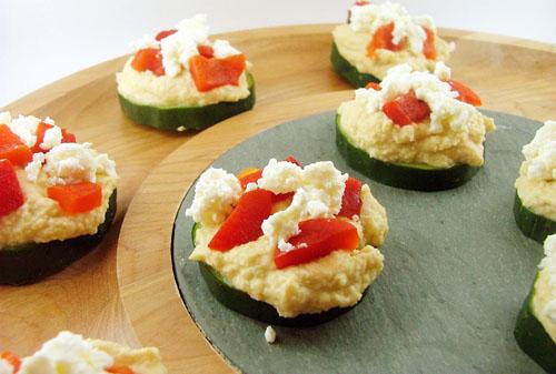 Cucumber Hummus Appetizers