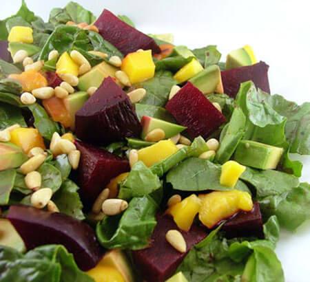 Roasted Beet, Mango, and Avocado Spinach Salad