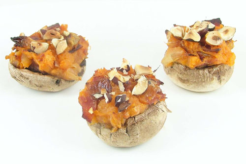 Sweet Potato and Bacon Stuffed Mushrooms Topped with Hazelnuts