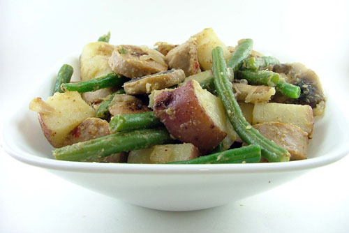 Roasted Potatoes and Sausages with Green Beans and Mushrooms