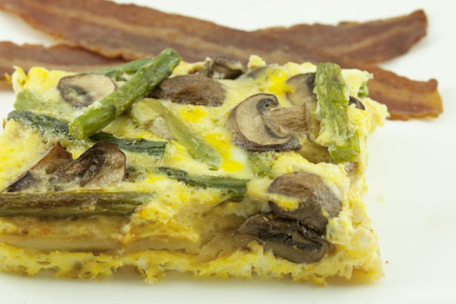 Egg and Potato Squares with Gruyere, Asparagus, and Mushrooms