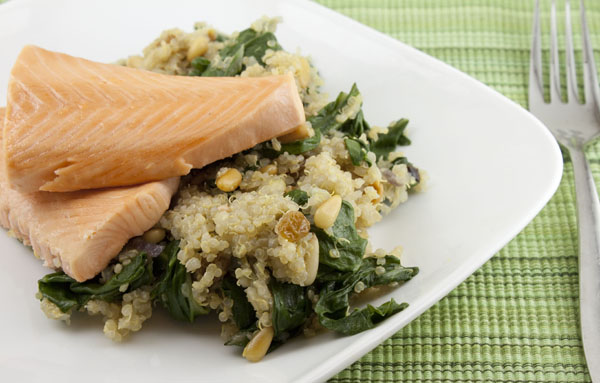 Champagne Salmon with Swiss Chard Quinoa