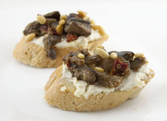 Eggplant and Goat Cheese Crostinis