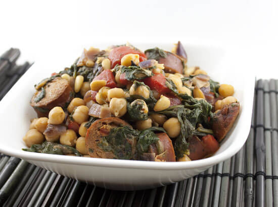 Mediterranean Chicken Sausage and Chickpea Skillet