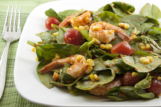 Summer Spinach Salad with Red Pepper Dressing