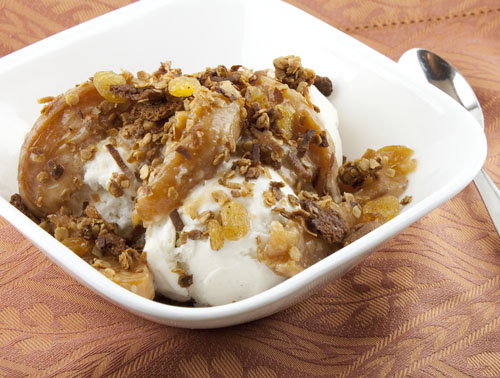 Caramelized Peach Sundaes with Cardamom Gingersnap Topping