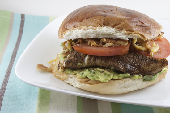 Blackened Tilapia Sandwiches with Avocado Spread and Crispy Plantains