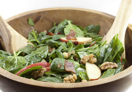 Apple Spinach Salad with Maple Walnuts