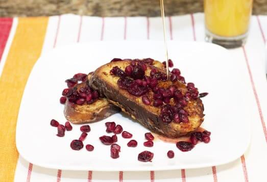 French Toast with Pomegranate Cranberry Compote and Clementine Syrup