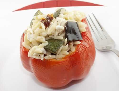 Eggplant and Orzo Stuffed Red Peppers