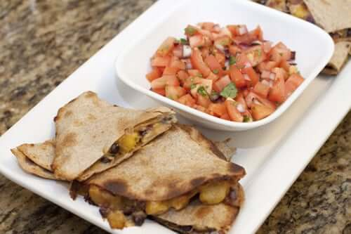 Plantain and Black Bean Quesadillas
