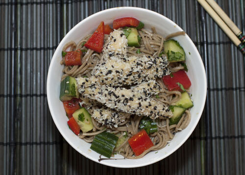 Sesame Chicken with Soba Noodles