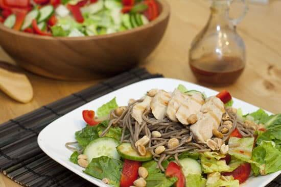 Chicken and Soba Romaine Salad with Thai Vinaigrette