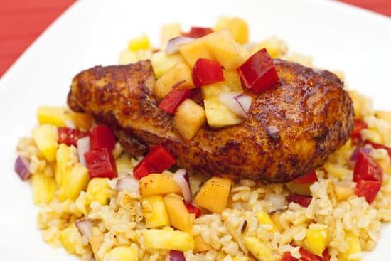 Ancho Honey Chicken over Tropical Rice