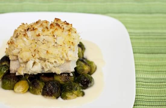 Crab Topped Mahi Mahi with a Lemon Sauce over Brussels Sprouts