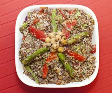 Quinoa with Chickpeas, Asparagus, and Lemon Goat Cheese Dressing