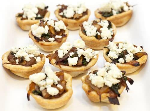 Caramelized Onion and Mushroom Tartlets with Blue Cheese