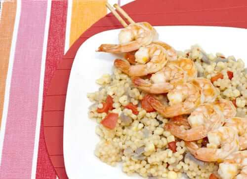 Sweet Chili Apricot Shrimp Skewers over Israeli Couscous