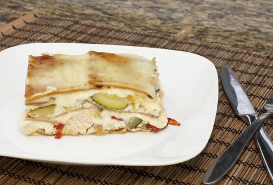 Summer Veggie and Chicken Lasagna with Goat Cheese Sauce