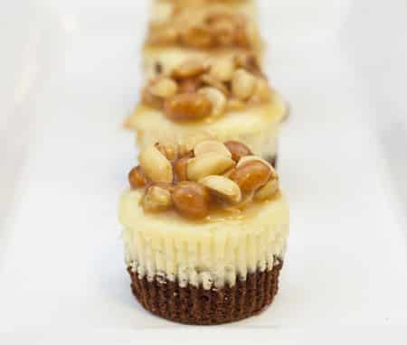 Mini Brownie Cheesecakes with Caramel Peanuts