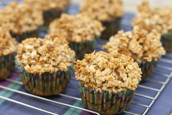 Pumpkin Oat Bran Muffins with Crumble Topping