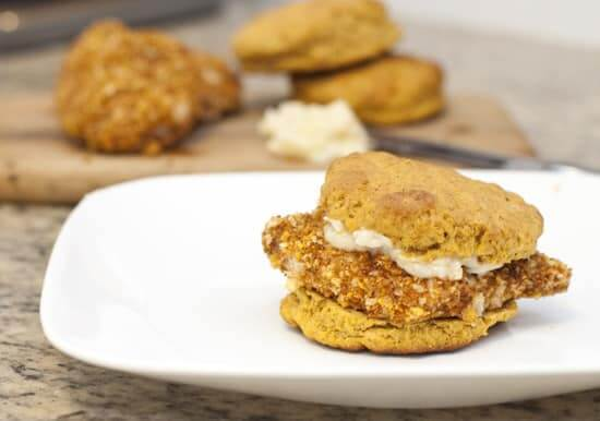 Crispy Pecan Chicken and Sweet Potato Biscuit Sandwiches