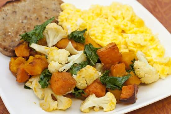 Fall Breakfast Hash with Cheesy Scrambled Eggs