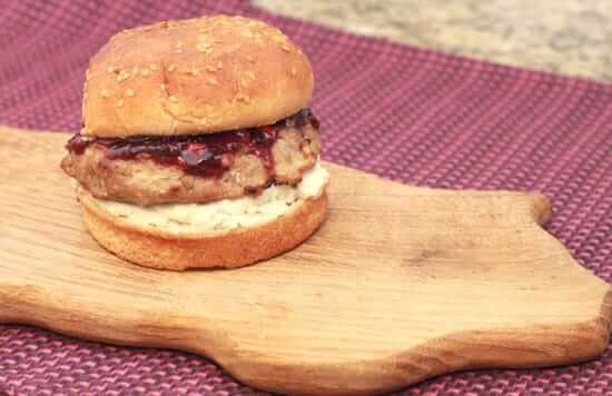 Bacon Burgers with Roasted Garlic Cherry Glaze and Gorgonzola Cheese