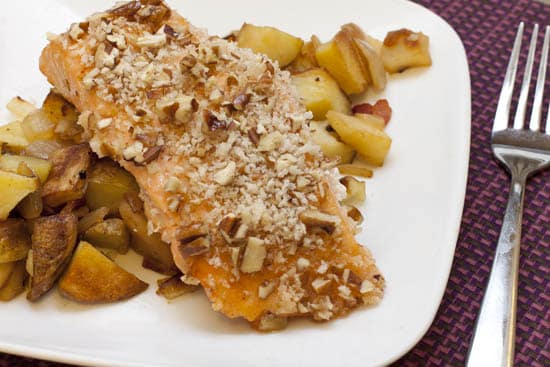 Maple Pecan Salmon over Roasted Potato, Apple, and Bacon Hash