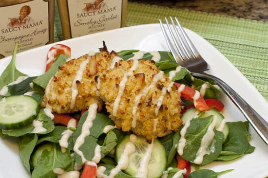 Honey Mustard Spinach Salad with Chicken Quinoa Cakes and Saucy Mama Mustard Giveaway