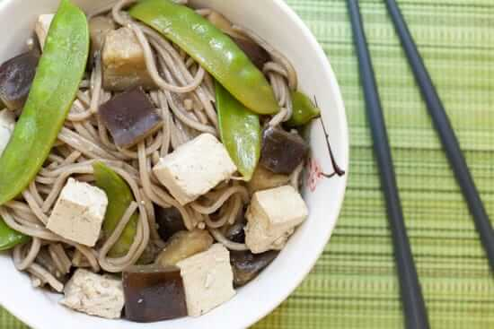 Soba Noodles with Eggplant, Snow Peas, and Tofu