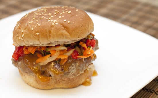 Thai Burgers with Plum Sauce and Spicy Slaw