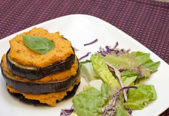 Mediterranean Portobello Mushroom and Eggplant Stacks