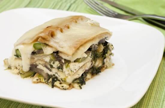 Asparagus, Mushroom, Spinach, and Chicken Lasagna with Goat Cheese Sauce