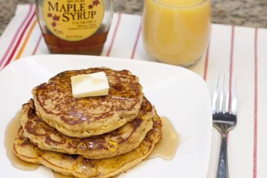 Cornmeal Pancakes with Corn, Bacon, and Sun Dried Tomatoes