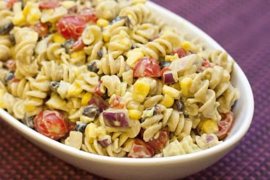 Pasta Salad with Avocado Dressing