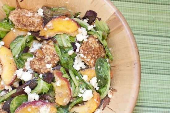 Peach Salad with Pecan Chicken and Gorgonzola
