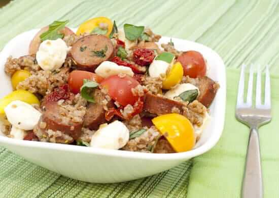 Caprese Bulgur with Chicken Sausage